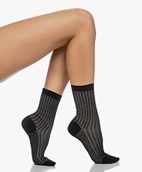 Filippa K Lurex Rib Sokken - Zwart
