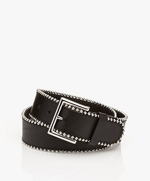 Drykorn Bead Leather Belt with Metal Details - Black