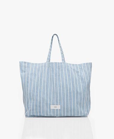 Closed Striped Denim Shopper - Light Blue/White