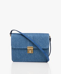 Closed Two Faces Denim & Leather Schouder Bag - Deep Ocean