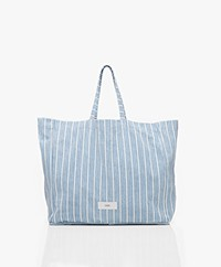 Closed Gestreepte Denim Shopper - Lichtblauw/Wit