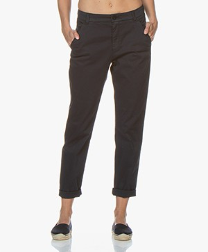 BOSS Sachini Stretch-Katoenen Chino - Donkerblauw