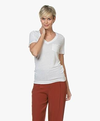 Denham Pilot Slub Jersey V-neck T-shirt - Bright White