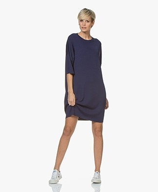 Drykorn Amari Viscose Crepe Jersey Dress - Dark Blue