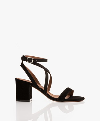 ba&sh Ceran Suede Leather Sandals - Black
