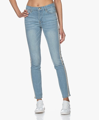 Repeat Slim-fit Jeans with Lurex Detailing - Blue
