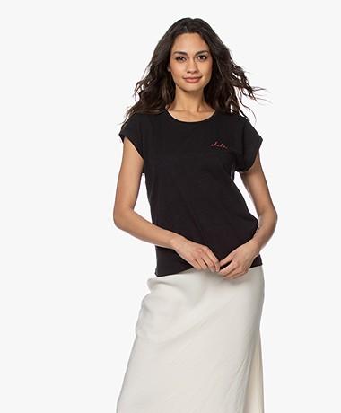 by-bar Bar Katoenen T-shirt met Geborduurd Detail - Zwart