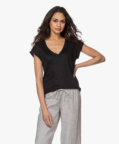 by-bar Mila Linen V-neck T-shirt - Black