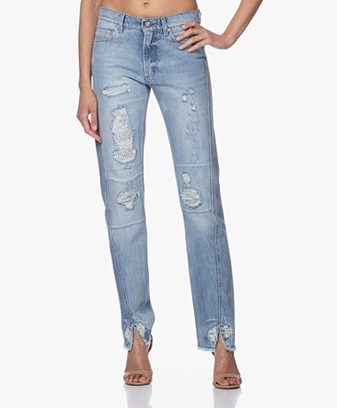 Zadig & Voltaire Erini Destroyed Straight-leg Jeans - Blauw