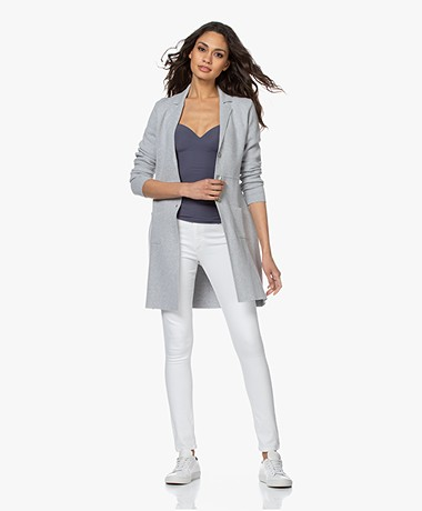 Belluna Sunset Cotton Blazer Cardigan - Light Ash