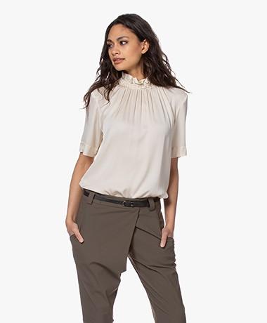 By Malene Birger Fraction Silk Short Sleeve Blouse - Angora