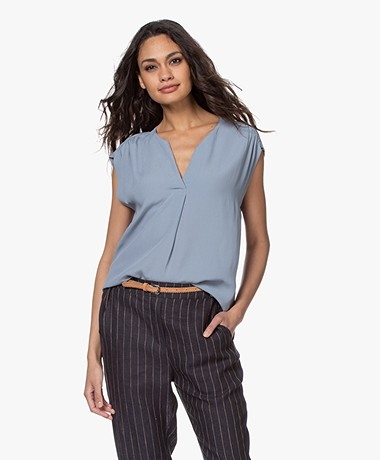 by-bar Star Viscose Crêpe Top - Bright Cloud