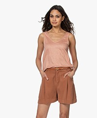 Majestic Filatures Linen V-neck Tank Top - Tan