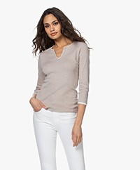 Belluna Cucina Slit Neck T-shirt with Cropped Sleeves - Beige