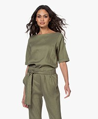 Woman by Earn Kiki Linen Blend Short Sleeve Blouse - Green