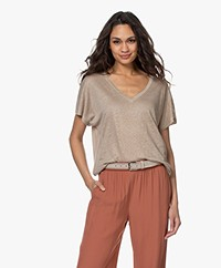Drykorn Svana Linen V-neck T-shirt - Taupe