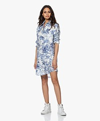 Zadig & Voltaire Rais Silk Printed Shirt Dress - Blue