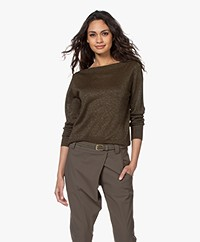 no man's land Boothals Trui met Lurex - Dark Safari Green