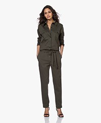 Woman By Earn Bri Stretch Katoenmix Boilersuit  - Army