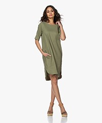 Woman by Earn Cara Stretch Linen Tunic Dress - Green