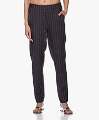 Josephine & Co Bruno Linnen Pantalon - Stripe Navy