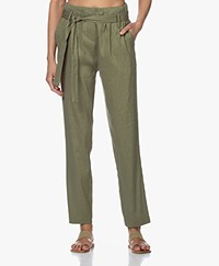 Woman by Earn Maddy Linen Blend Paperbag Pants - Green