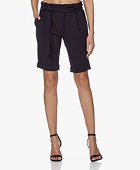 Woman by Earn Mabel Crêpe Jersey ermuda Shorts - Navy