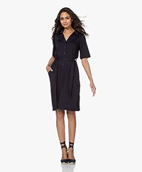 LaSalle Lyocell Jersey Shirt Dress - Navy