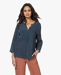 Drykorn Florenia Cupro Split Neck Blouse - Blue