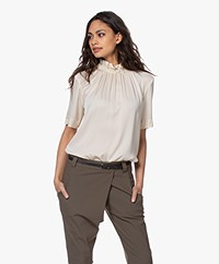 By Malene Birger Fraction Silk Short Sleeve Blouse - Angora