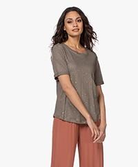 Repeat Linnen Sterrenprint T-shirt - Groen