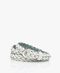 Closed Braided Leather Belt - White