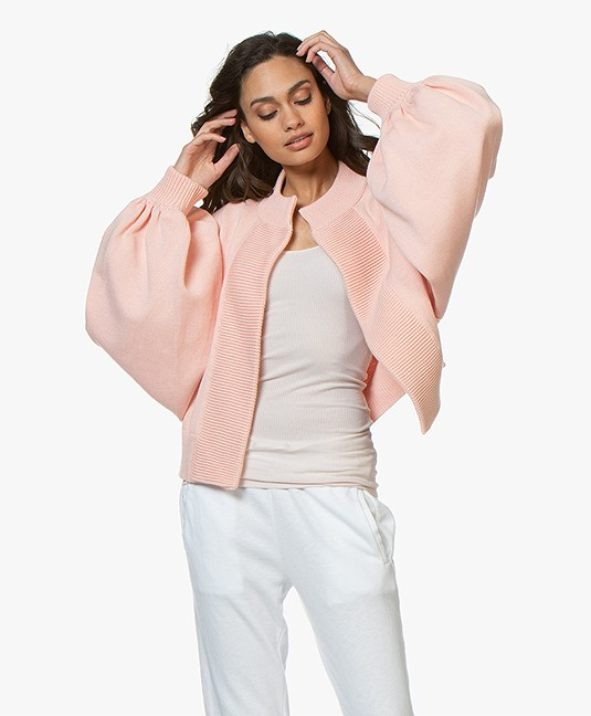 I Love Mr Mittens Bomber Cardigan with Balloon Sleeves - Baby Rose