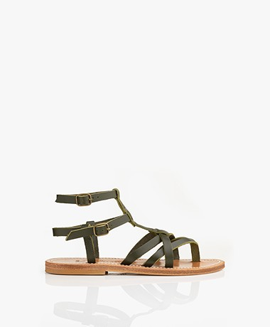 K. Jacques St. Tropez Larissa Leather Studded Sandals - Khaki