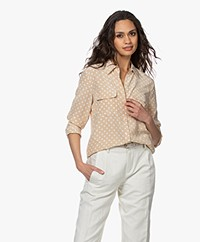Equipment Slim Signature Polkadot Silk Blouse - Safari/Nature White
