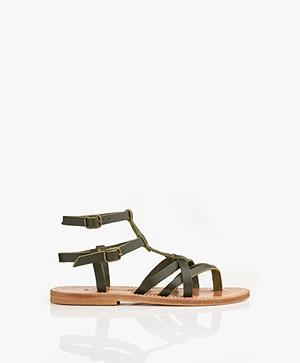 K. Jacques St. Tropez Larissa Leather Studded Sandals - Khaki