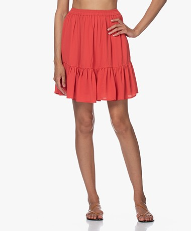 by-bar Charlie Viscose Crepe Ruffle Skirt - Pepper