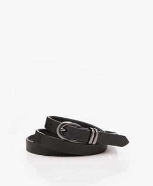 Drykorn Ilana Narrow Leather Belt - Black