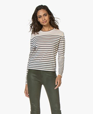forte_forte Fine Knitted Sweater with Striped Dessin - Off-white/Dark Blue