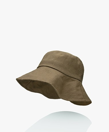 Monk & Anna Summer Linnen Bucket Hat - Olijf