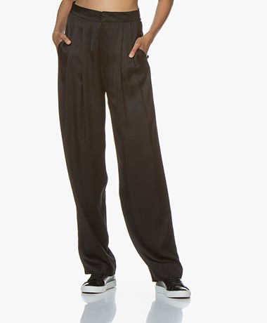 Resort Finest Fico Loose-fit Satijnen Pantalon - Zwart
