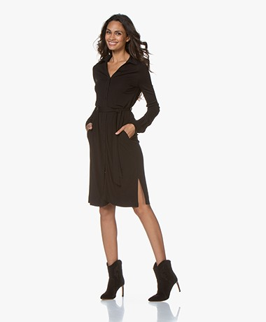 LaSalle Viscose Crepe Jersey Shirt Dress - Black