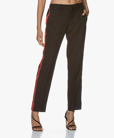 Zadig & Voltaire Pomelo Band Pants with Grosgrain Piping - Black