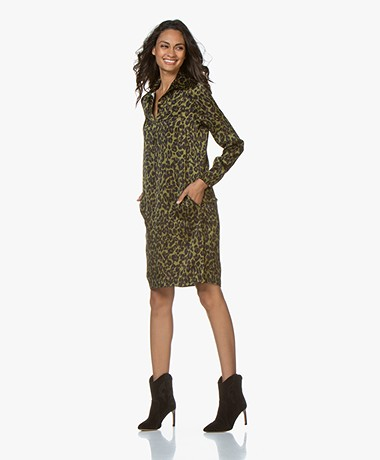 LaSalle Satin Leopard Print Tunic Dress - Green