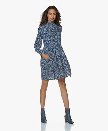 indi & cold Viscose A-line Printed Dress - Azul