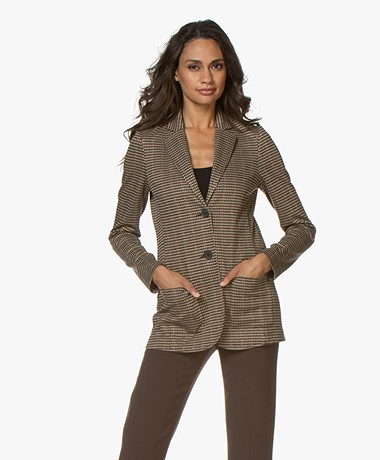 no man's land Checkered Jersey Blazer - Soft Sandelwood
