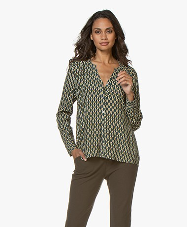 indi & cold Batikprint Viscose Blouse - Jade