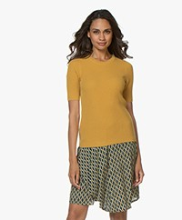 Repeat Cashmere Rib Trui met Korte Mouwen - Curry