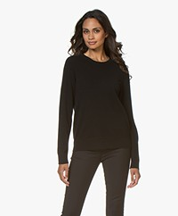 Repeat Luxury Round Neck Cashmere Pullover - Black