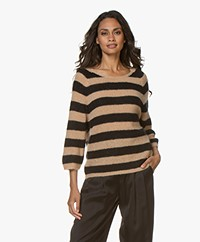 Sibin/Linnebjerg Panama Striped Sweater - Light camel/black